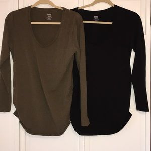 2 Old Navy long sleeve maternity tops size Large!